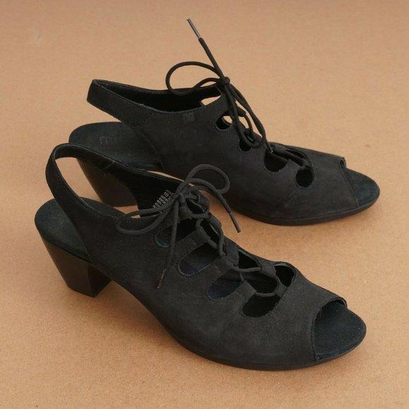 Munro Jillie Womens Block Heel Sandals Black 10.5N